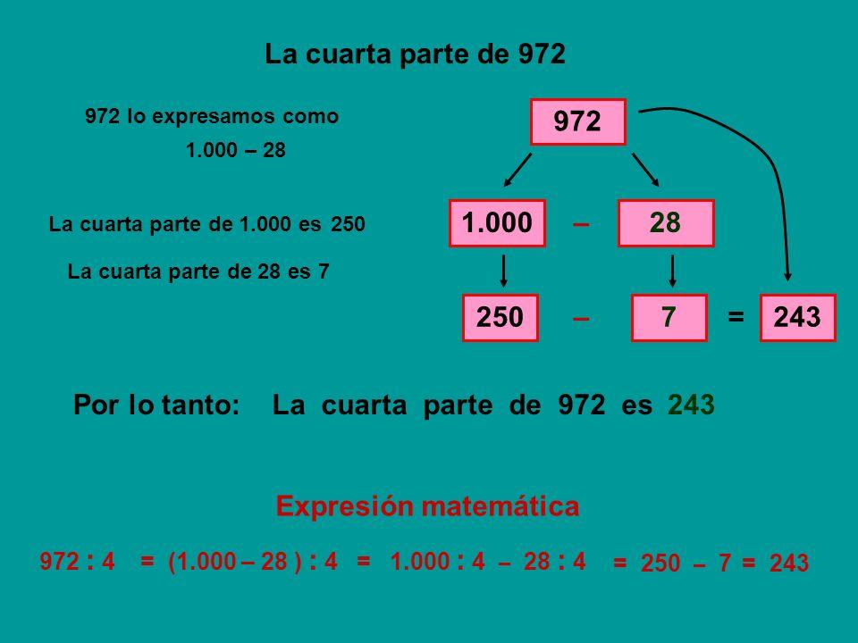 La cuarta parte de 972 972 1.000 – 28 250 – 7 = 243 Por lo tanto: