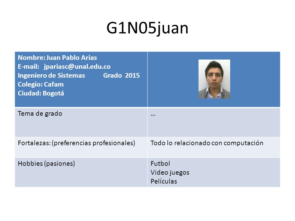 G1N05juan Nombre: Juan Pablo Arias E-mail: jpariasc@unal.edu.co