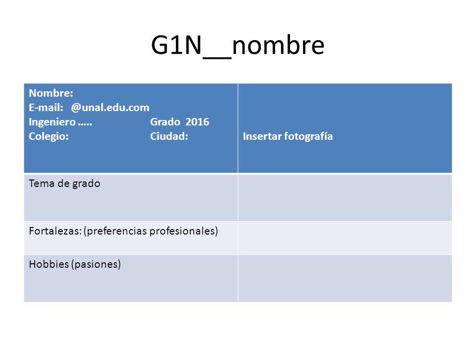 G1N__nombre Nombre: E-mail: @unal.edu.com Ingeniero ….. Grado 2016