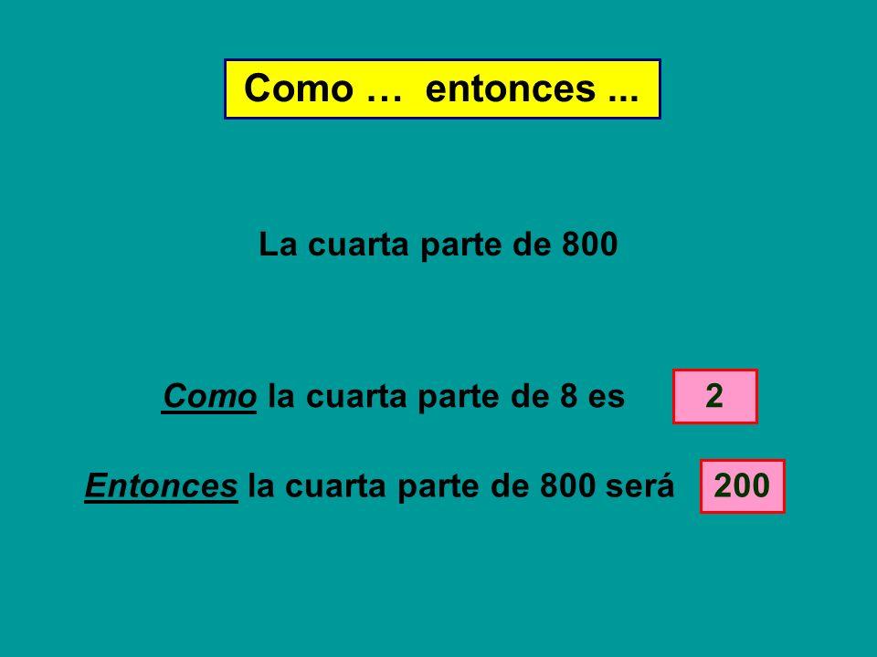 Como la cuarta parte de 8 es Entonces la cuarta parte de 800 será