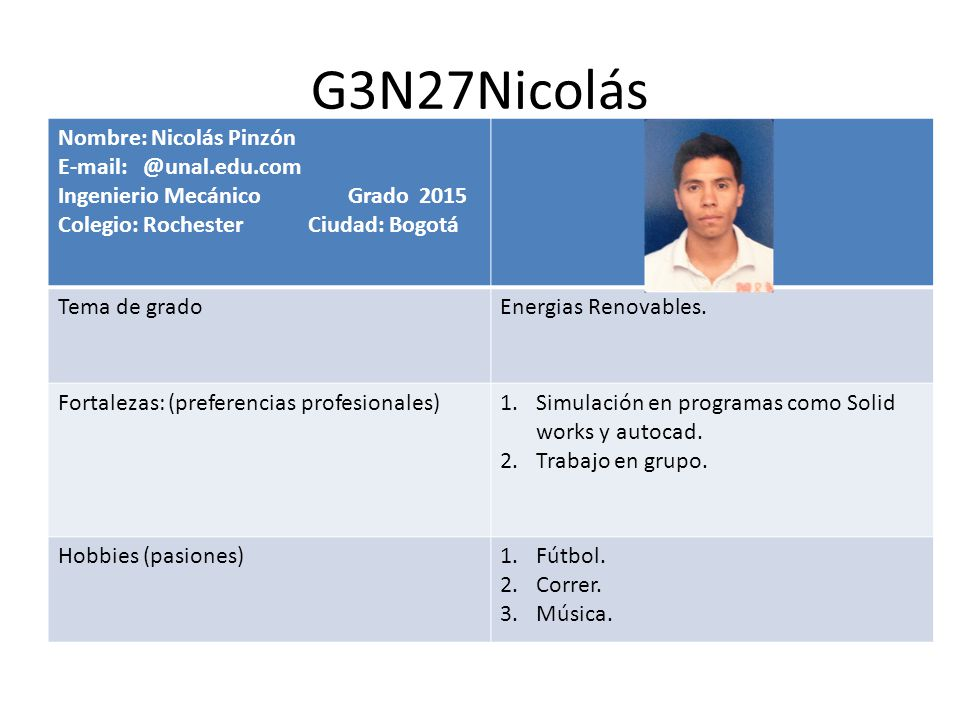 G3N27Nicolás Nombre: Nicolás Pinzón E-mail: @unal.edu.com