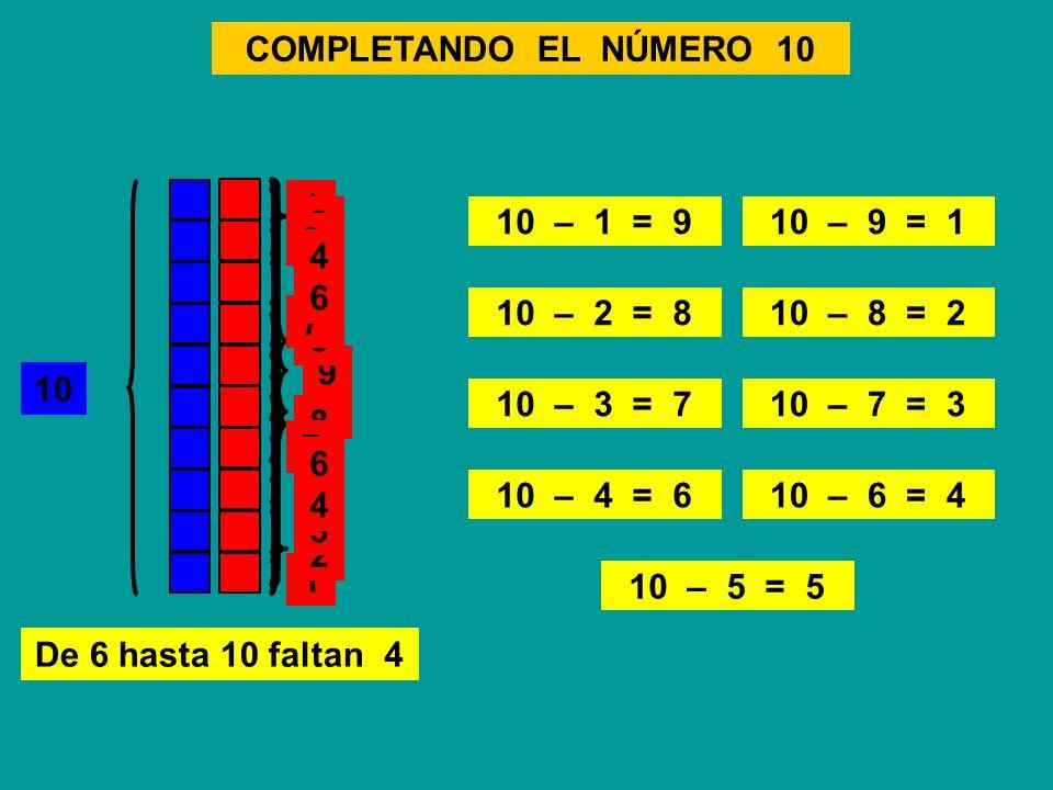 COMPLETANDO EL NÚMERO 10 1. 2. 10 – 1 = 9. 10 – 9 = 1. 3. 4. 5. 6. 6. 10 – 2 = 8.