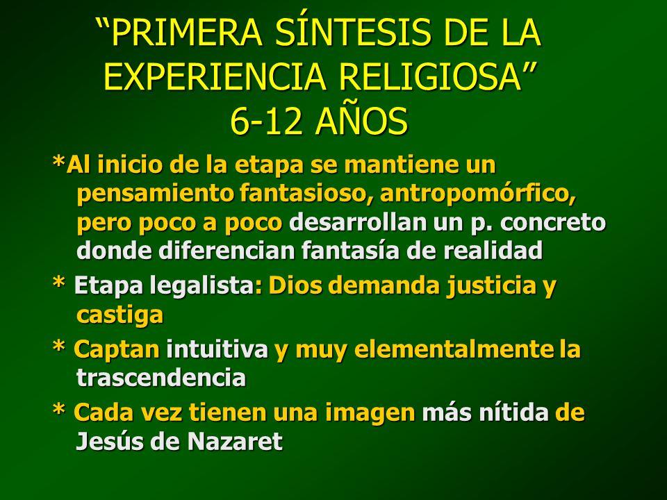 PRIMERA SÍNTESIS DE LA EXPERIENCIA RELIGIOSA 6-12 AÑOS