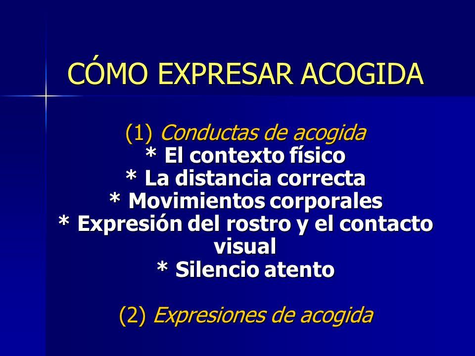 CÓMO EXPRESAR ACOGIDA (1) Conductas de acogida. El contexto físico