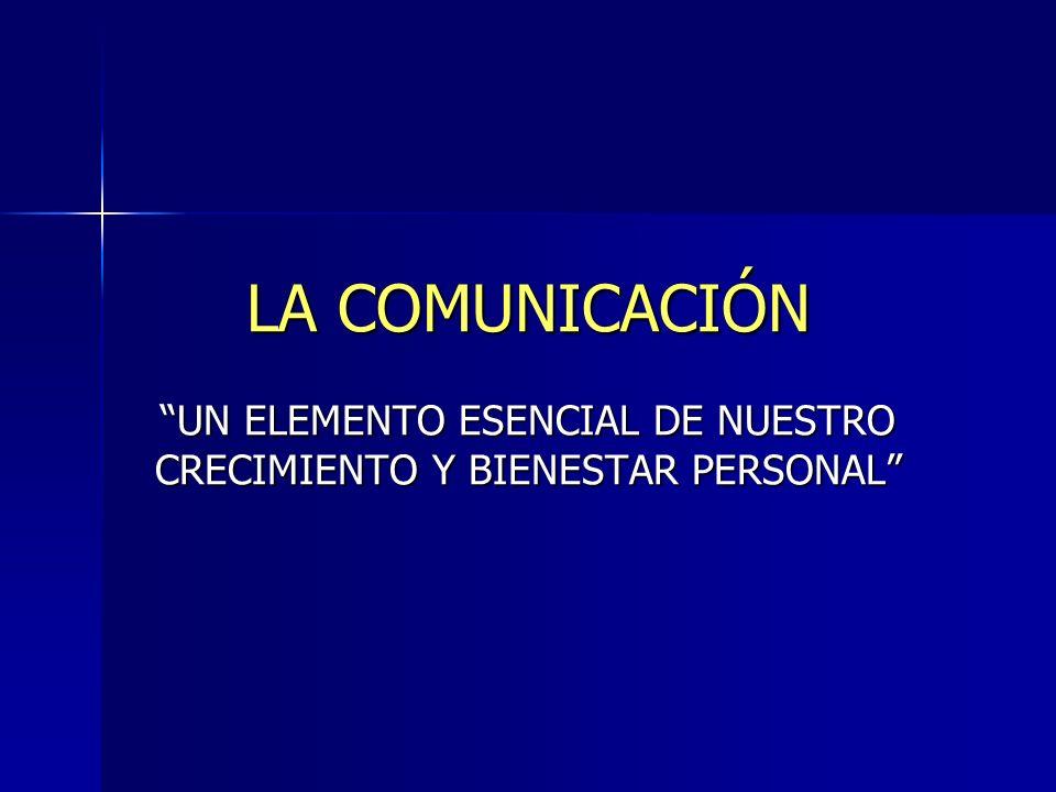 LA COMUNICACIÓN UN ELEMENTO ESENCIAL DE NUESTRO CRECIMIENTO Y BIENESTAR PERSONAL