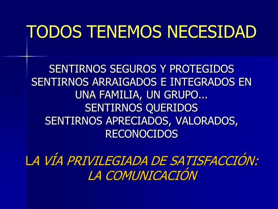 TODOS TENEMOS NECESIDAD SENTIRNOS SEGUROS Y PROTEGIDOS SENTIRNOS ARRAIGADOS E INTEGRADOS EN UNA FAMILIA, UN GRUPO...