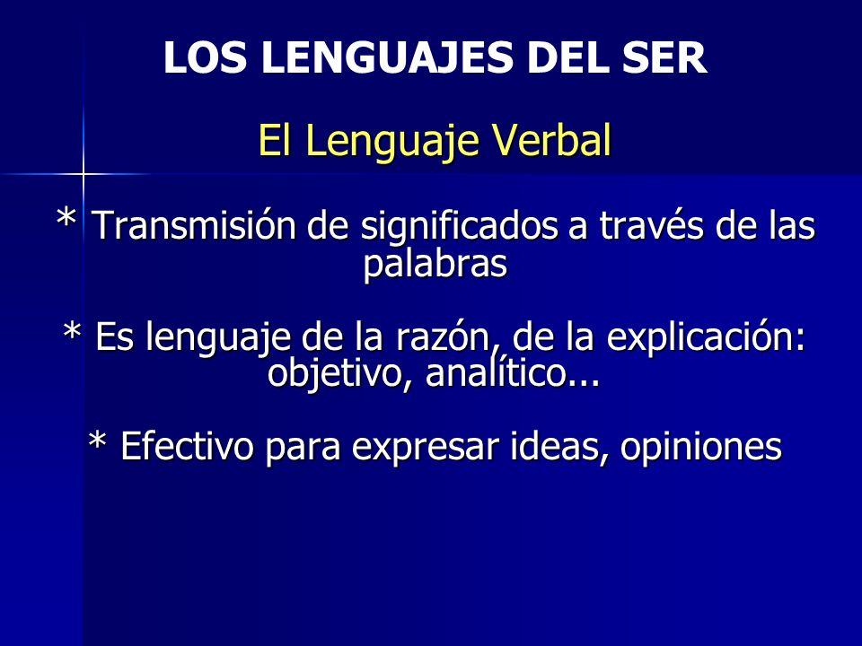 LOS LENGUAJES DEL SER El Lenguaje Verbal
