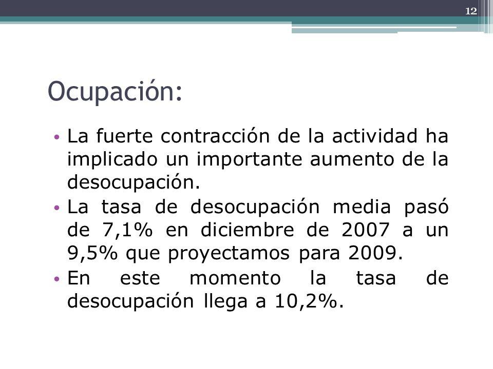 Ocupación:La fuerte contracción de la actividad ha implicado un importante aumento de la desocupación.