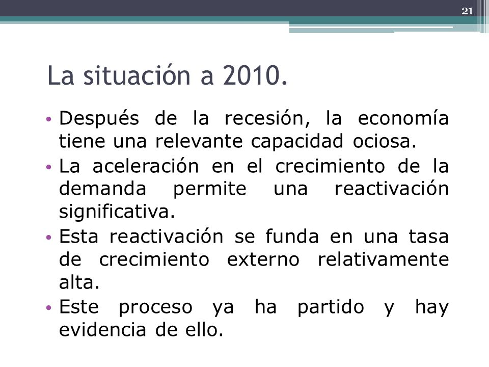 La situación a 2010.Después de la recesión, la economía tiene una relevante capacidad ociosa.