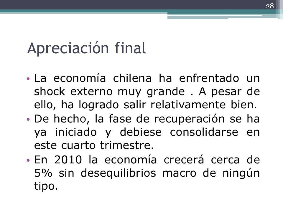 Apreciación finalLa economía chilena ha enfrentado un shock externo muy grande . A pesar de ello, ha logrado salir relativamente bien.