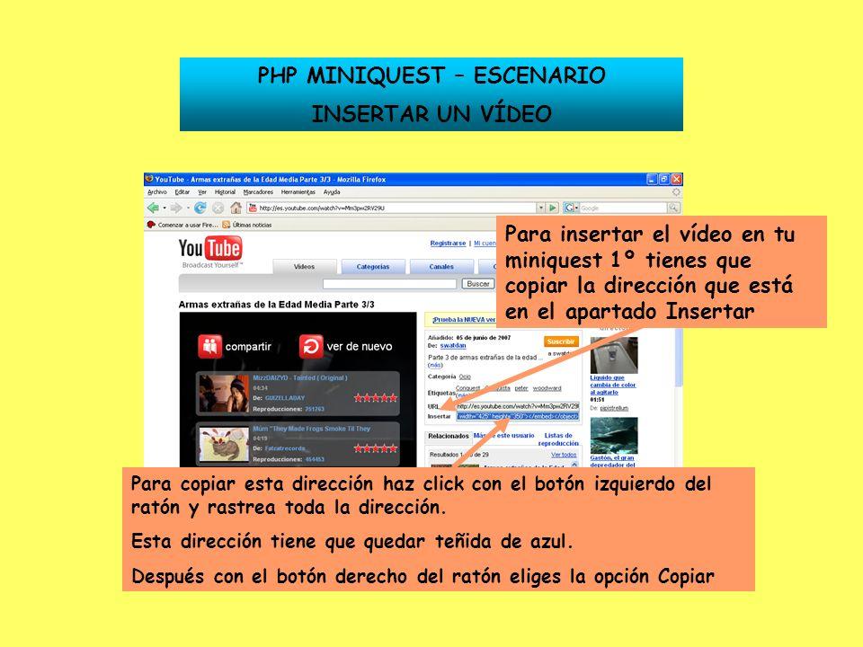 PHP MINIQUEST – ESCENARIO