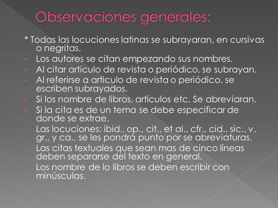 Observaciones generales:
