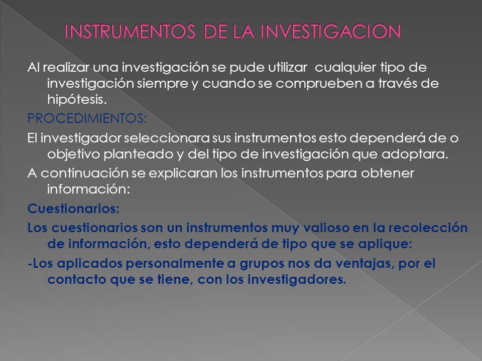 INSTRUMENTOS DE LA INVESTIGACION