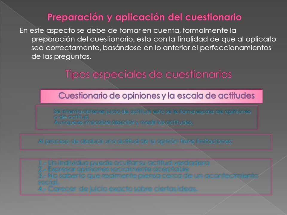 Preparación y aplicación del cuestionario