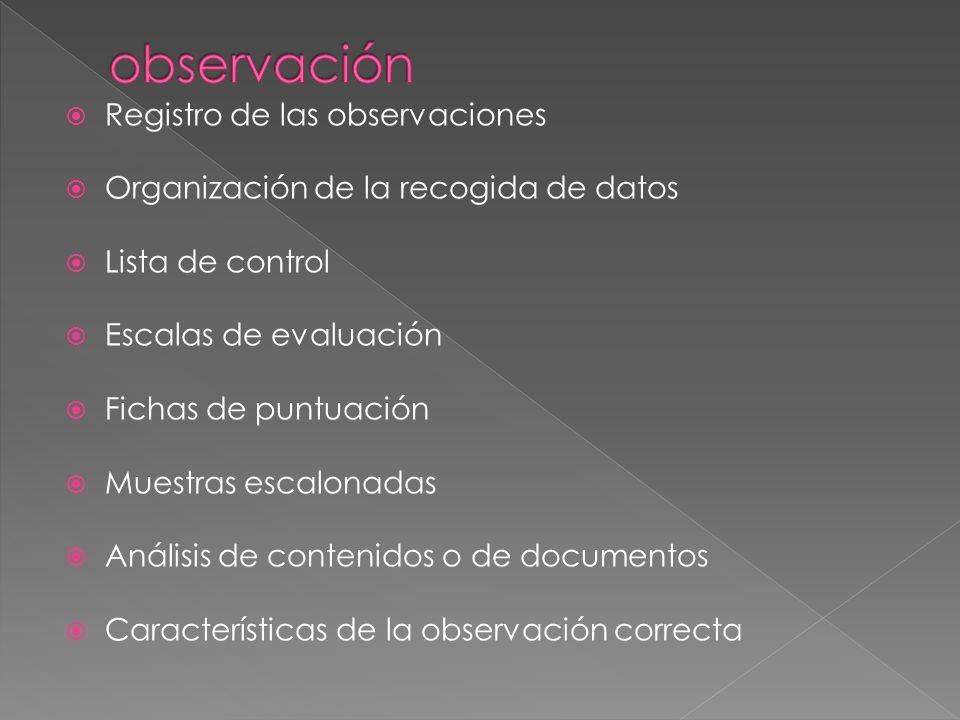observación Registro de las observaciones