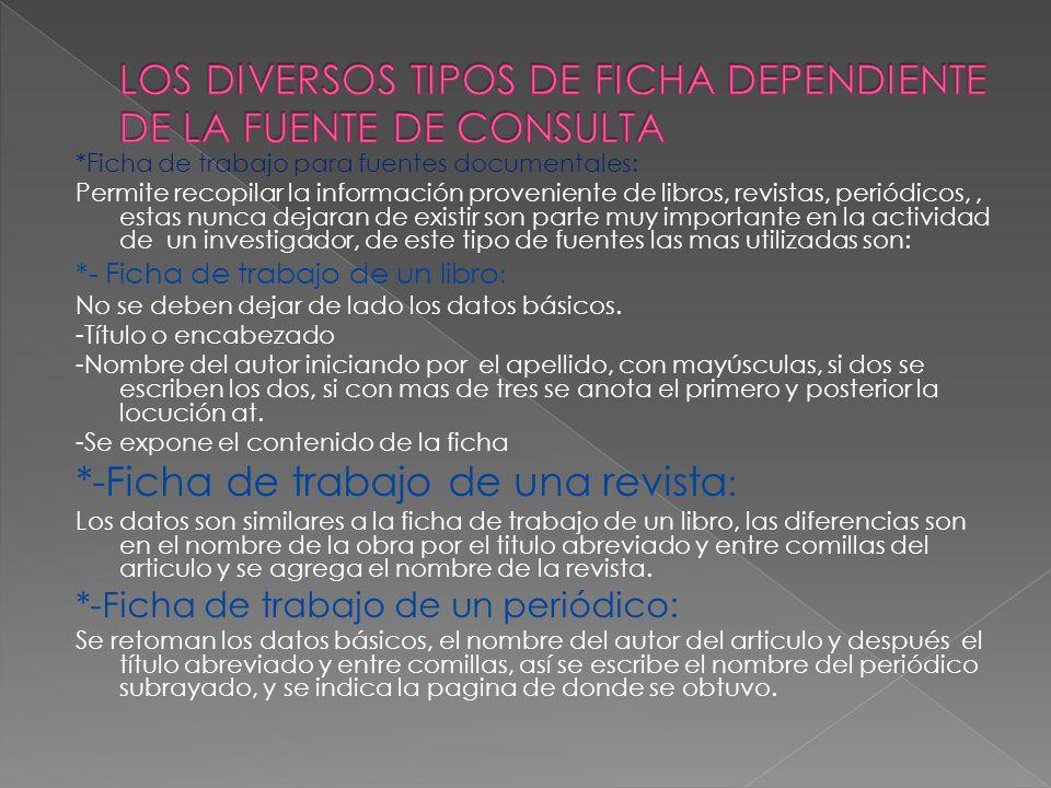 LOS DIVERSOS TIPOS DE FICHA DEPENDIENTE DE LA FUENTE DE CONSULTA