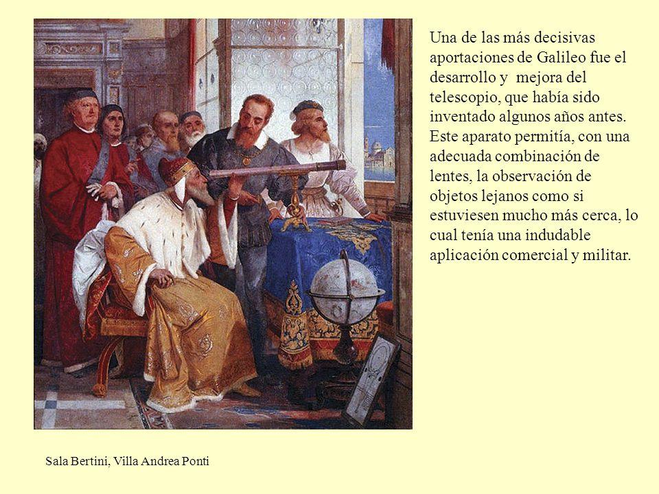 Una de las más decisivas aportaciones de Galileo fue el desarrollo y mejora del telescopio, que había sido inventado algunos años antes. Este aparato permitía, con una adecuada combinación de lentes, la observación de objetos lejanos como si estuviesen mucho más cerca, lo cual tenía una indudable aplicación comercial y militar.