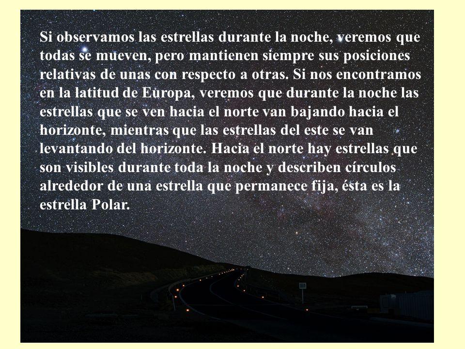 Si observamos las estrellas durante la noche, veremos que todas se mueven, pero mantienen siempre sus posiciones relativas de unas con respecto a otras.