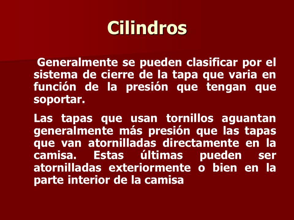Cilindros Generalmente se pueden clasificar por el sistema de cierre de la tapa que varia en función de la presión que tengan que soportar.