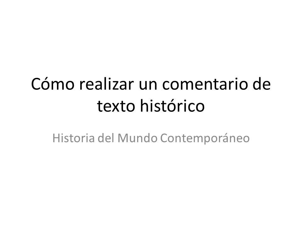 Cómo realizar un comentario de texto histórico