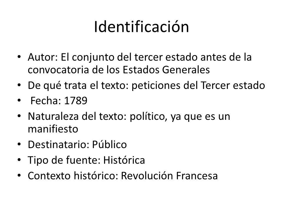 Identificación Autor: El conjunto del tercer estado antes de la convocatoria de los Estados Generales.