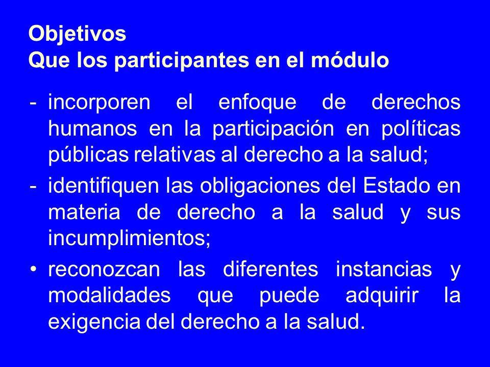 Objetivos Que los participantes en el módulo