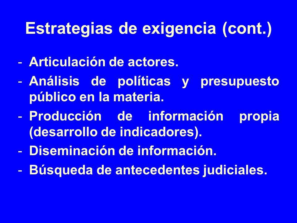 Estrategias de exigencia (cont.)