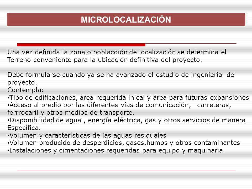 MICROLOCALIZACIÓN Una vez definida la zona o poblacoión de localización se determina el.