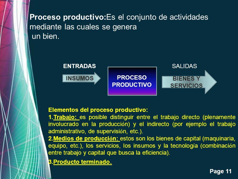 Proceso productivo:Es el conjunto de actividades