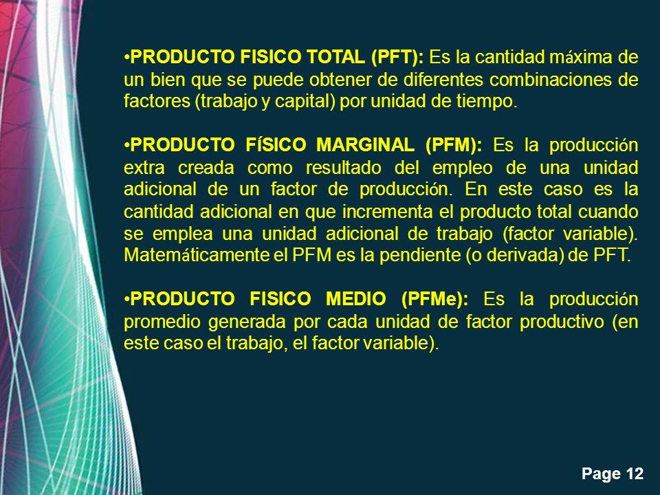PRODUCTO FISICO TOTAL (PFT): Es la cantidad máxima de un bien que se puede obtener de diferentes combinaciones de factores (trabajo y capital) por unidad de tiempo.