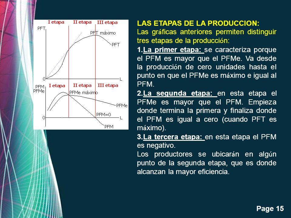 LAS ETAPAS DE LA PRODUCCION: