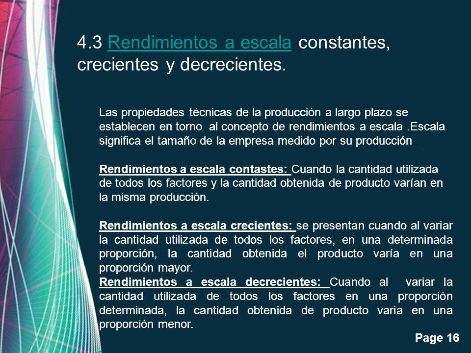 4.3 Rendimientos a escala constantes, crecientes y decrecientes.