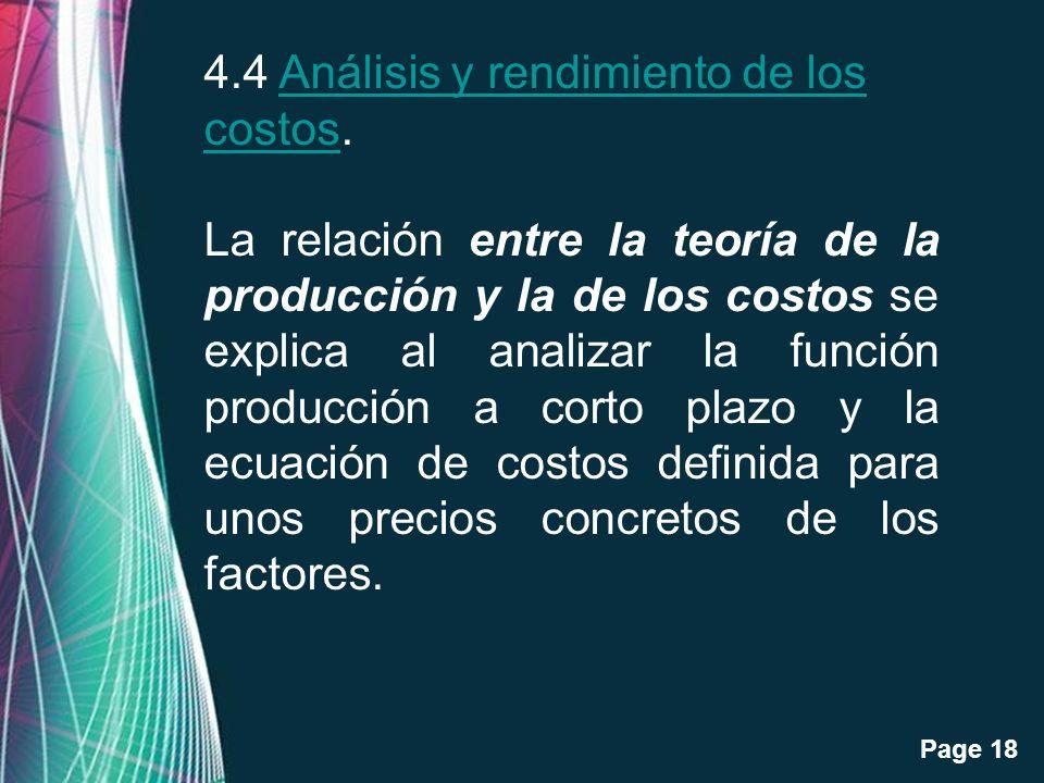 4.4 Análisis y rendimiento de los costos.
