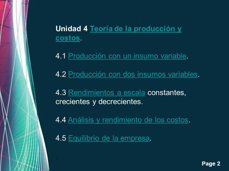 Unidad 4 Teoría de la producción y costos.