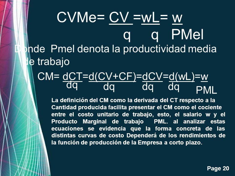 CVMe= CV =wL= w q q PMel Donde Pmel denota la productividad media de trabajo CM= dCT=d(CV+CF)=dCV=d(wL)=w