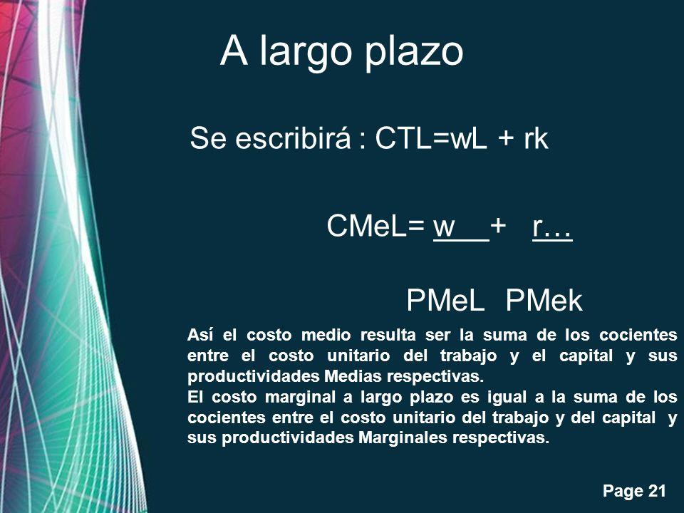 A largo plazo Se escribirá : CTL=wL + rk CMeL= w + r… PMeL PMek