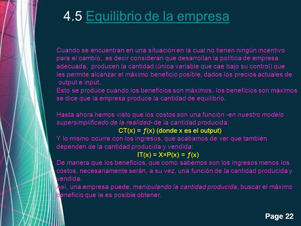 4.5 Equilibrio de la empresa