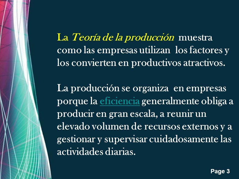 La Teoría de la producción muestra como las empresas utilizan los factores y los convierten en productivos atractivos.