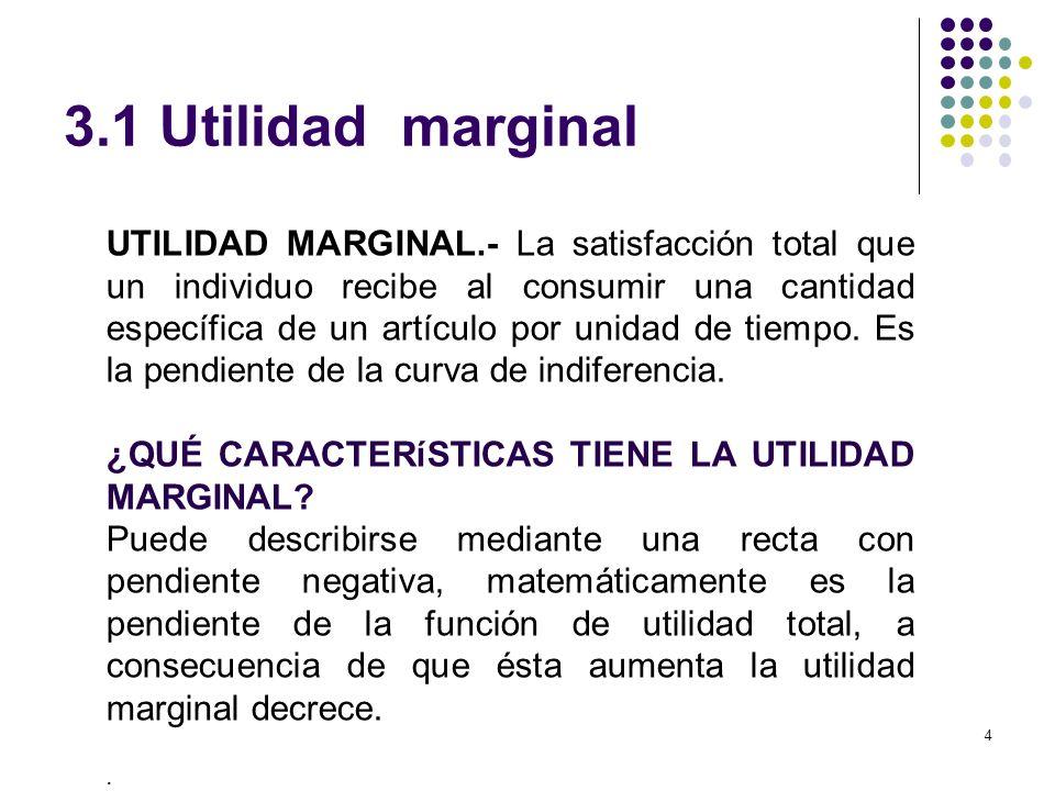 3.1 Utilidad marginal