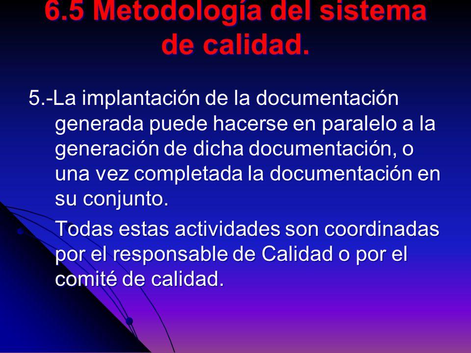 6.5 Metodología del sistema de calidad.