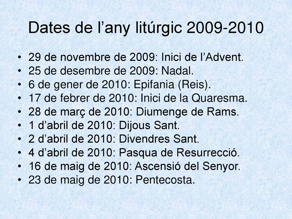 Dates de l'any litúrgic