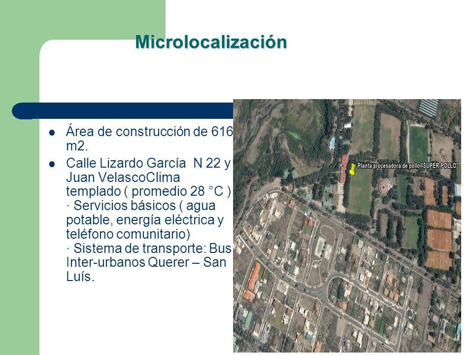 Microlocalización Área de construcción de 616 m2.