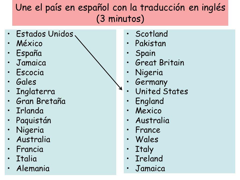Une el país en español con la traducción en inglés (3 minutos)