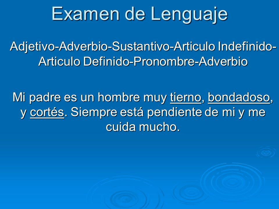 Examen de Lenguaje Adjetivo-Adverbio-Sustantivo-Articulo Indefinido- Articulo Definido-Pronombre-Adverbio.