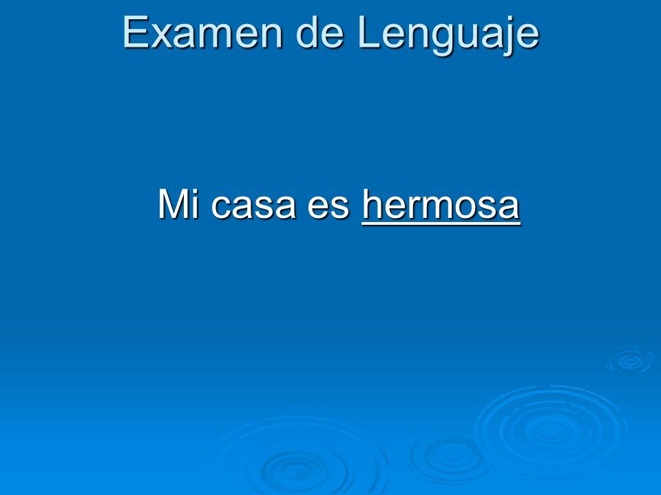 Examen de Lenguaje Mi casa es hermosa