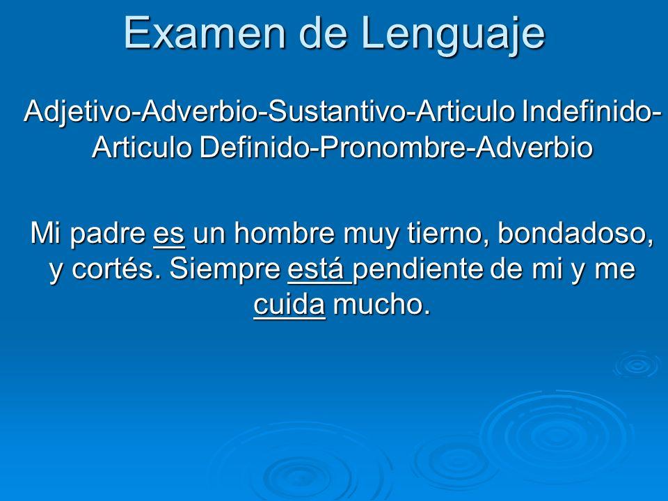 Examen de LenguajeAdjetivo-Adverbio-Sustantivo-Articulo Indefinido- Articulo Definido-Pronombre-Adverbio.