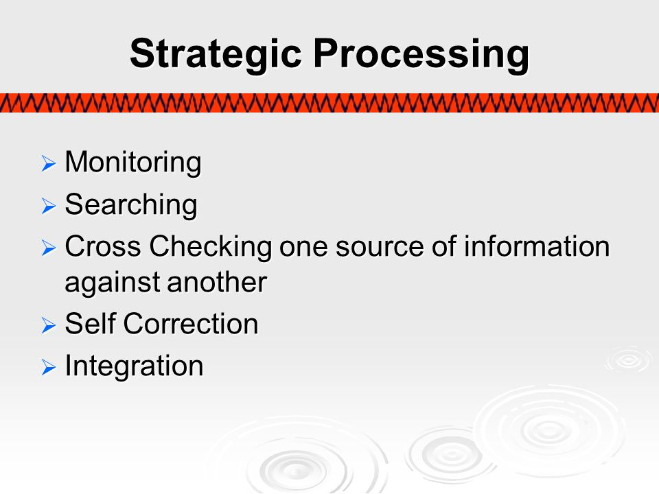Strategic Processing Monitoring Searching