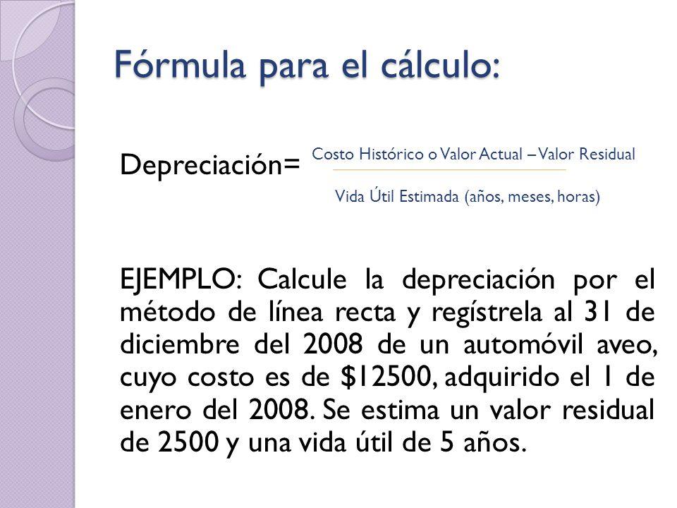 Fórmula para el cálculo: