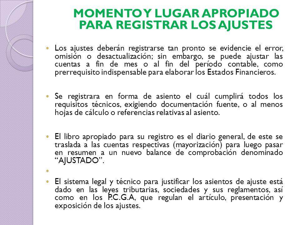 MOMENTO Y LUGAR APROPIADO PARA REGISTRAR LOS AJUSTES