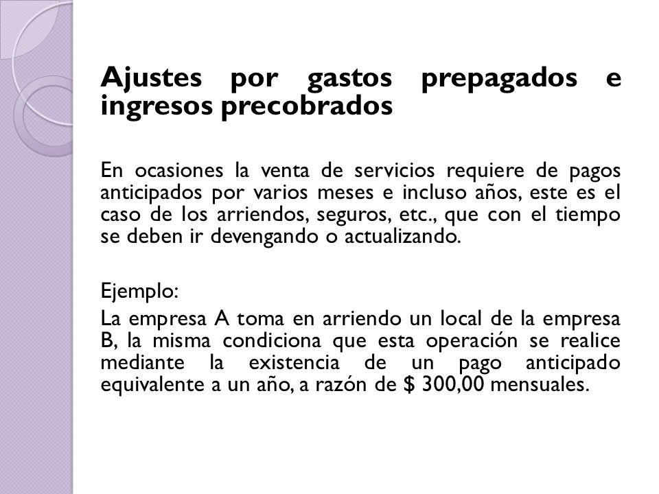 Ajustes por gastos prepagados e ingresos precobrados
